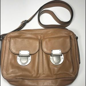 Fossil Cowhide Leather Adjustable Crossbody Purse